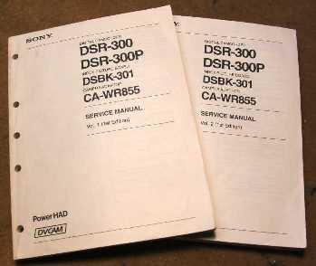 SONY DSR 300/300P SERVICE MANUAL V1.0 + V2.0 dsr-300 dsr300 dsr 300 sony service manual manuals